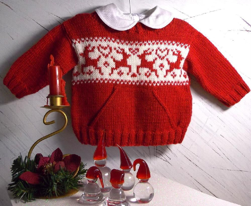 Christmas sweater with pocket and reindeers Knitting ...