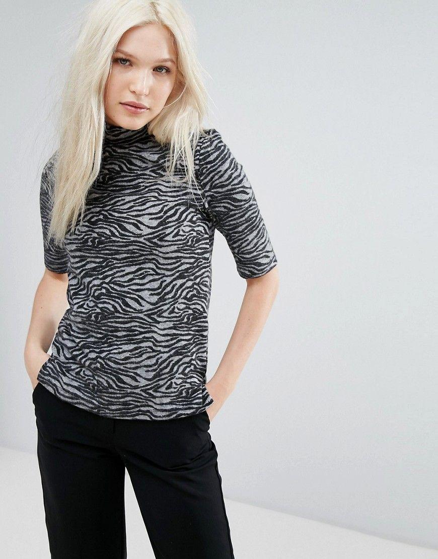 b10668d7f65567 b.Young Zebra High Neck Top - Gray   Sexy Animal fake print/fur ...
