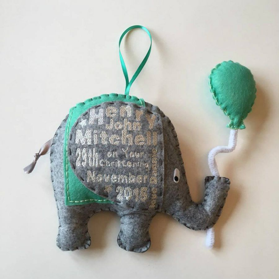 Hanging felt elephant personalised christening gift this cute felt hanging felt elephant personalised christening gift this cute felt elephant can be personalised with your babys details machine embroidered on to the negle Gallery