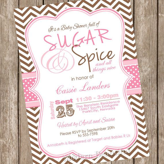 Pink And Brown Chevron Sugar E Baby Shower Invitation Printable Digital File