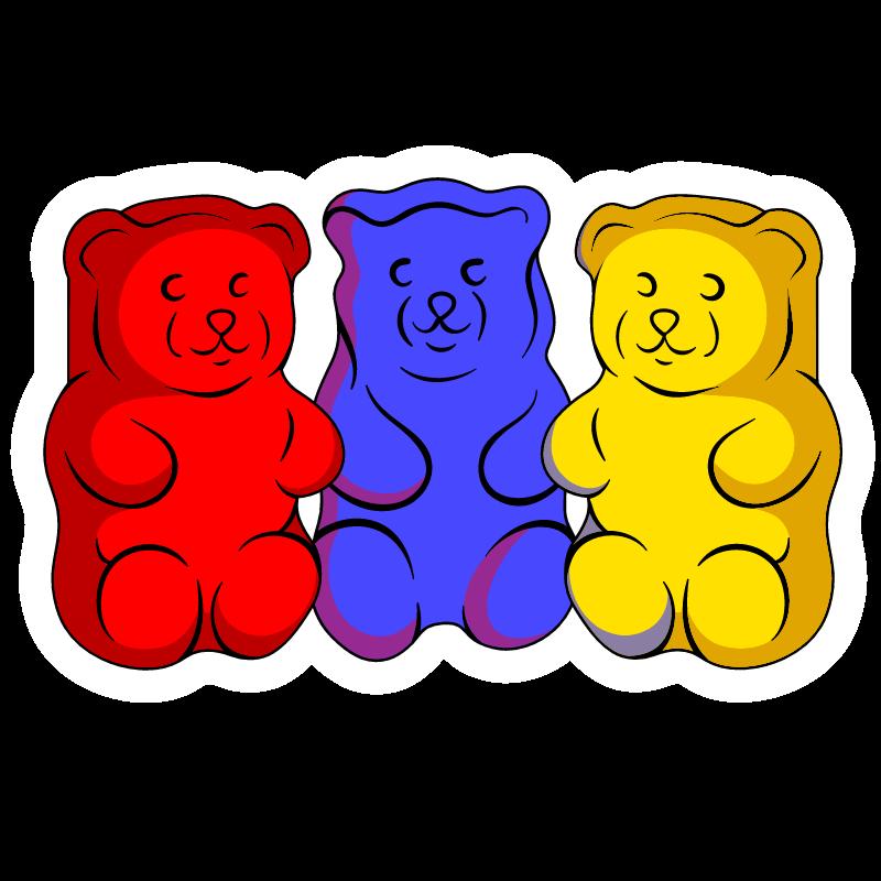 3 Gummy Bears Sticker Gummy Bears Bear Drink Stickers