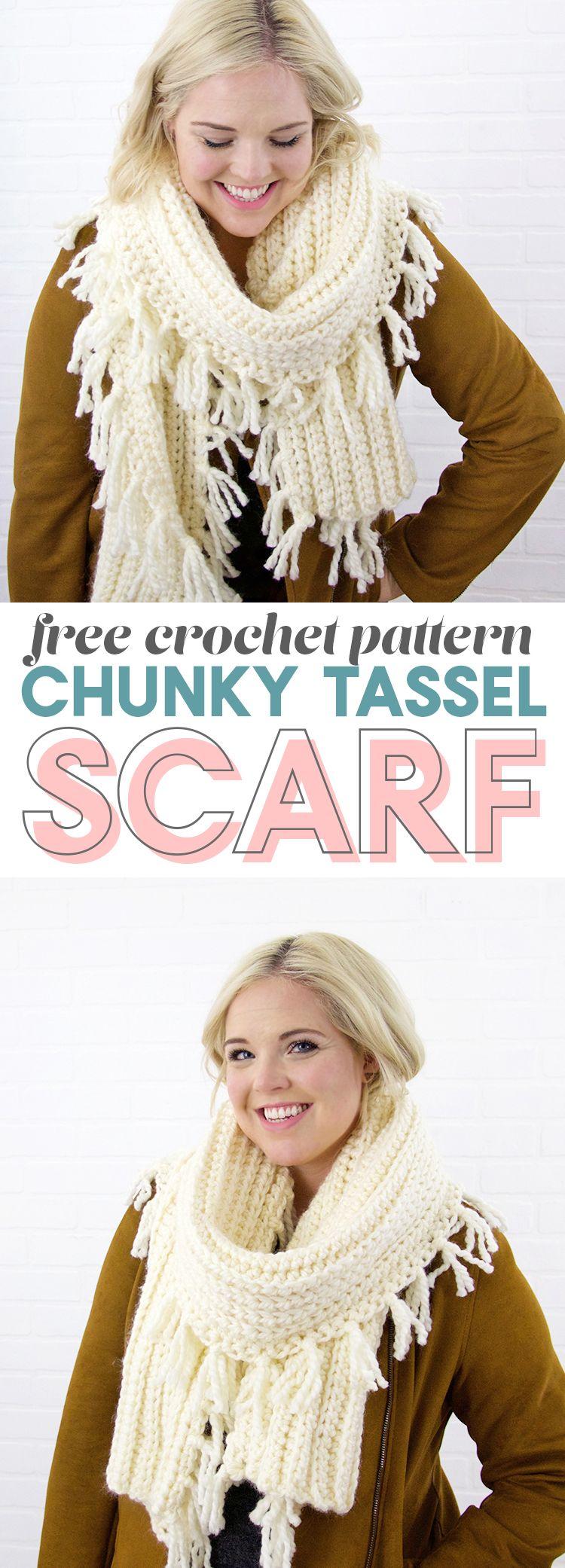 Chunky Tassel Crochet Scarf Pattern | Ganchillo y Tejido