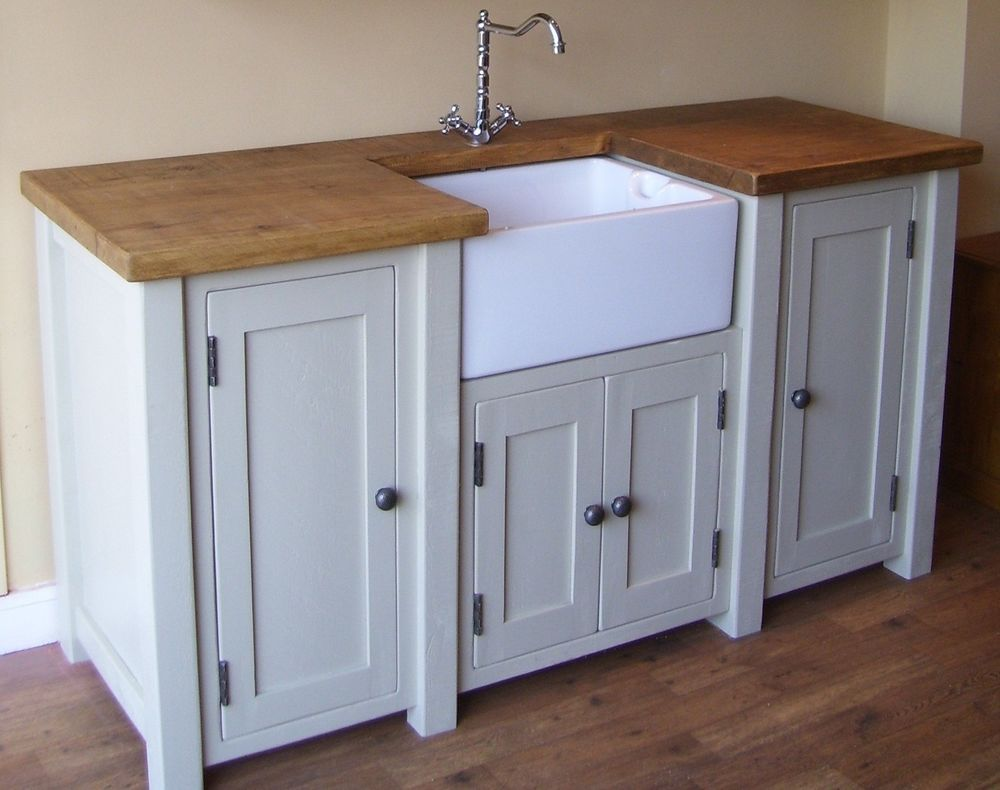 Shabby chic freestanding belfast butler sink unit any for Double kitchen base unit