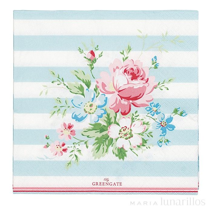 Www Greengate De Servilletas De Papel Marie Pale Blue (20) Greengate