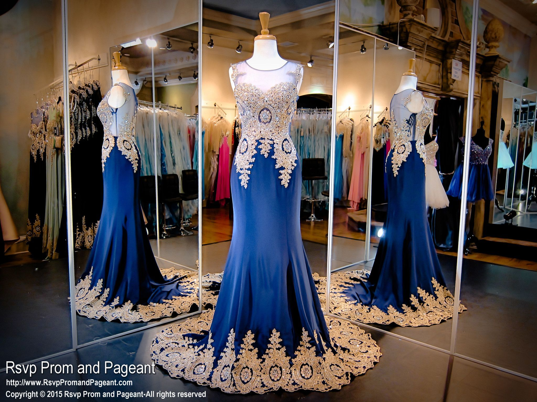 navy-gold-formfitting-trumpet-style-pageant-prom-dress-train ...