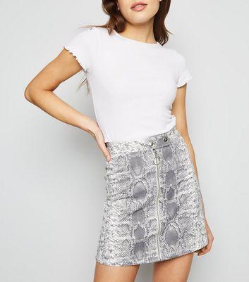 Grey Snake Print Ring Zip Denim Skirt #snakeprints