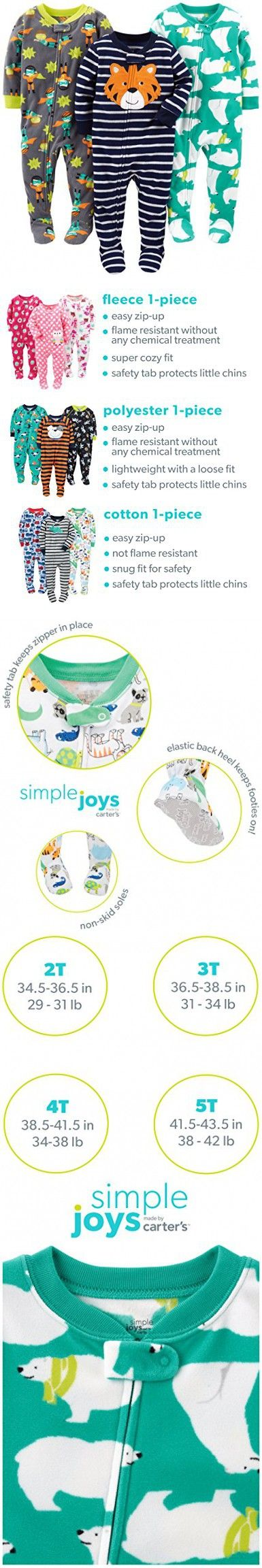b20225880 Simple Joys by Carter s Baby Boys  Toddler 3-Pack Flame Resistant ...