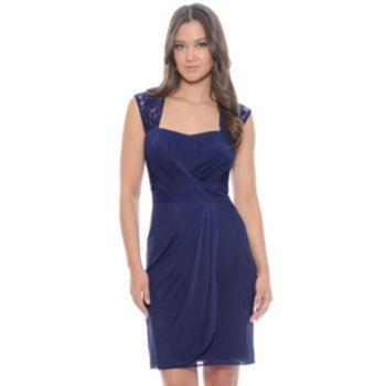 d3a5f7b5689 1 by 8 Mixed-Media Ruched Empire Dress
