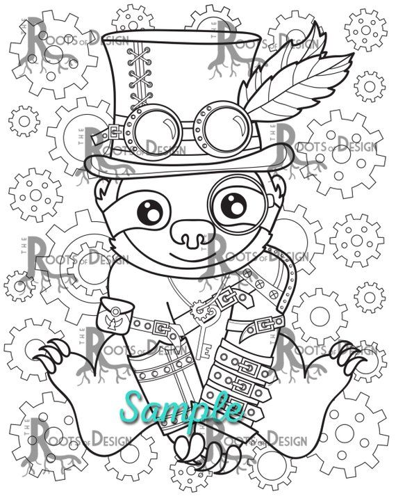 INSTANT DOWNLOAD Coloring Steampunk Sloth Art Coloring