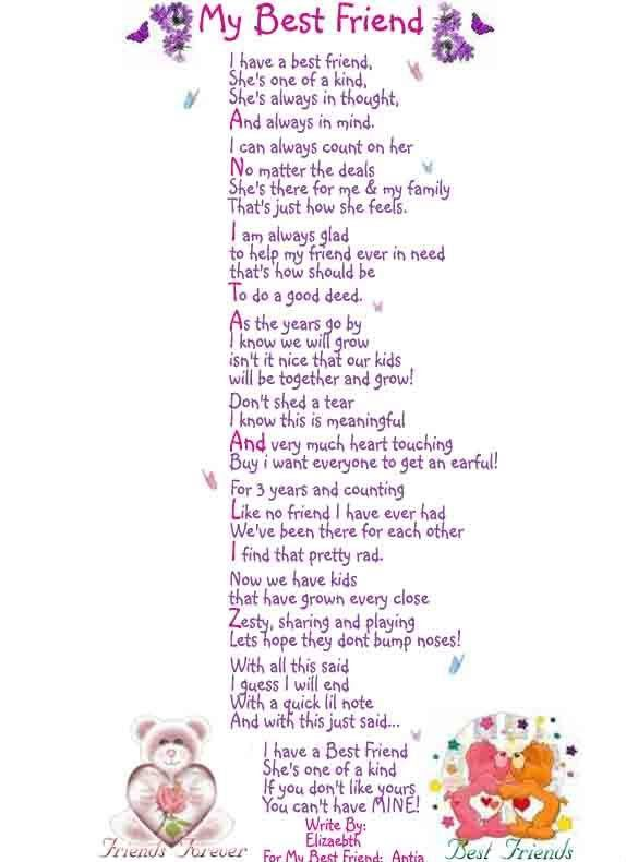 Hey guys... i really want to right a poem for my best friend.?