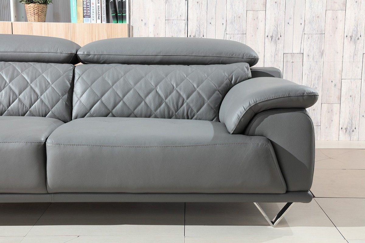 Divani Casa Wolford Modern Grey Leather Sofa Set Stylish Design Furniture Modern Grey Sofa Leather Sofa Set Grey Leather Sofa