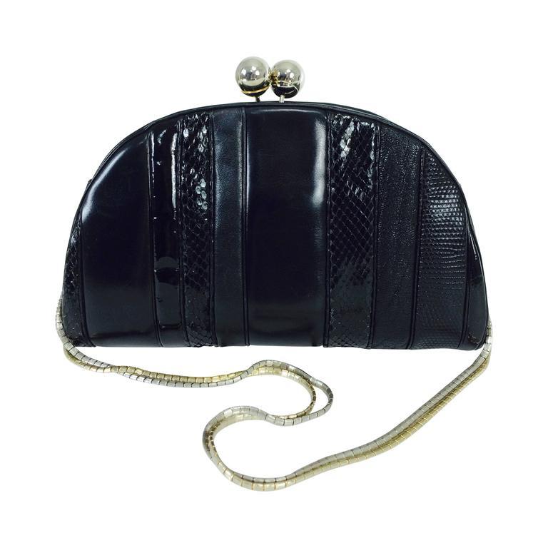 Judith Leiber Black Leather & Snakeskin Shoulder Bag 1980s zpmpCjxOiv