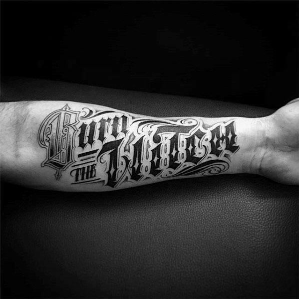 60 Typography Tattoos For Men , Word Font Design Ink Ideas