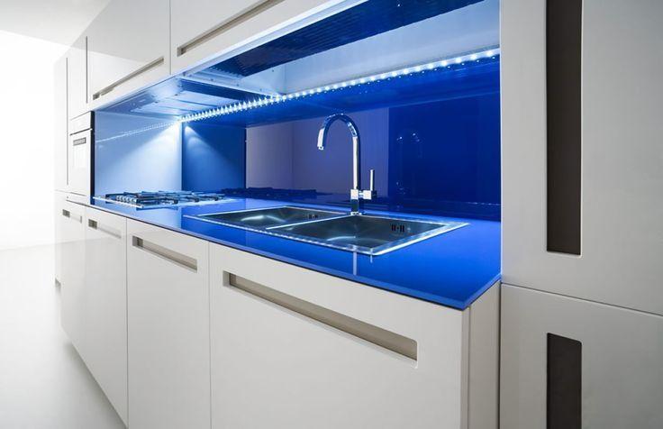Encimera De Cristal Templado Azul