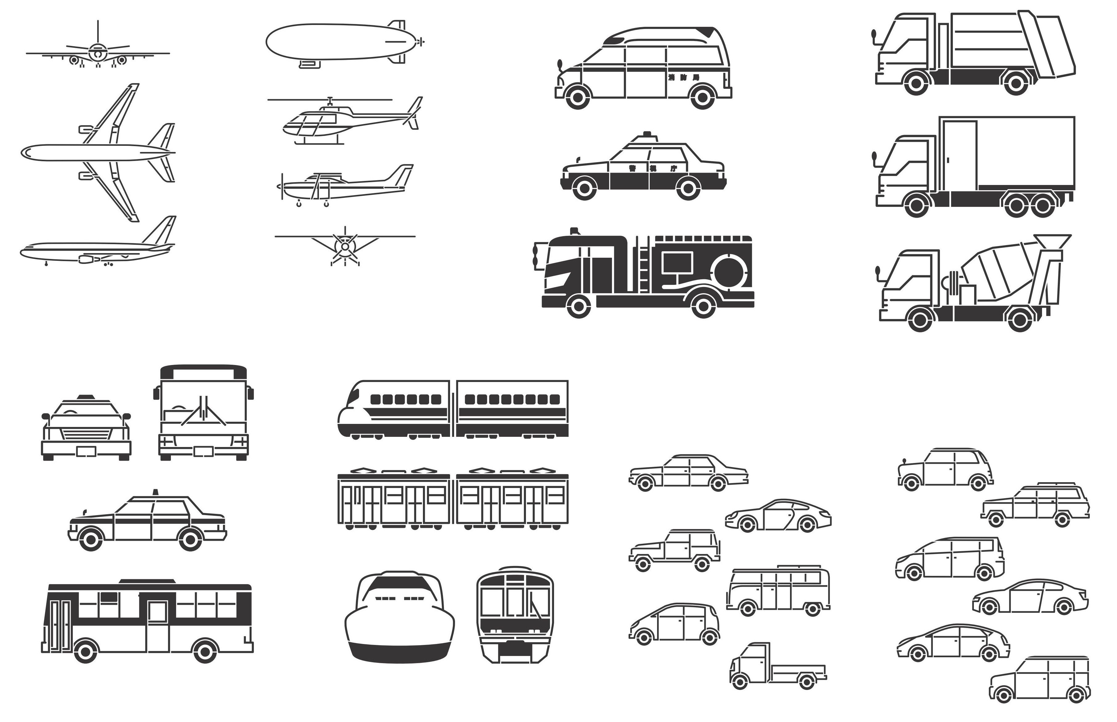 Transport, Plane, Helicopter, Car, Truck, Train, Bus