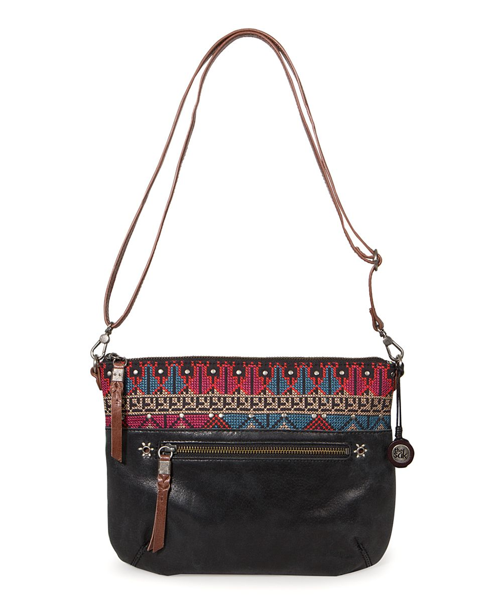Black Cross-Stitch Oleta Leather Crossbody Bag