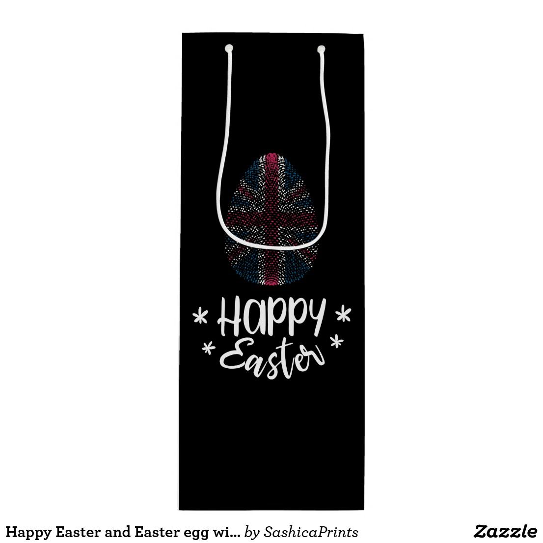 Happy easter and easter egg with uk flag wine gift bag happy happy easter and easter egg with uk flag wine gift bag negle Images