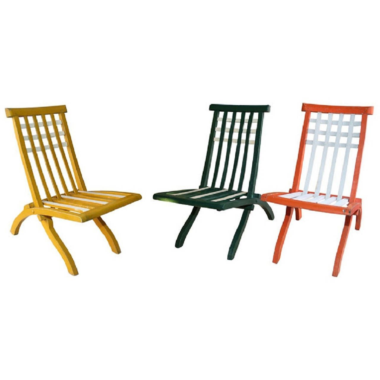 Garden Furniture France set of wooden folding chairsmallet-stevens, french 1920s