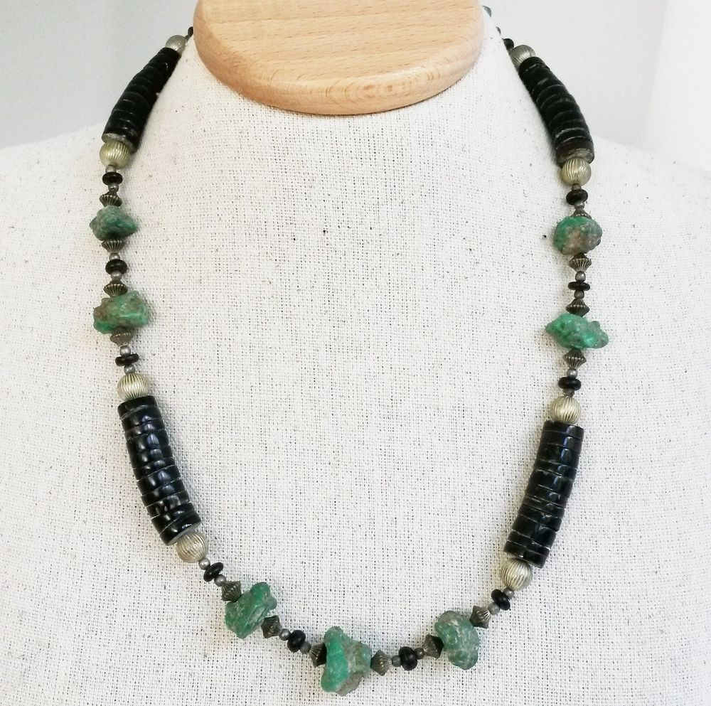 Vintage Chunky Heishi Bead Turquoise Nugget Cluster Necklace Southwestern #Unbranded