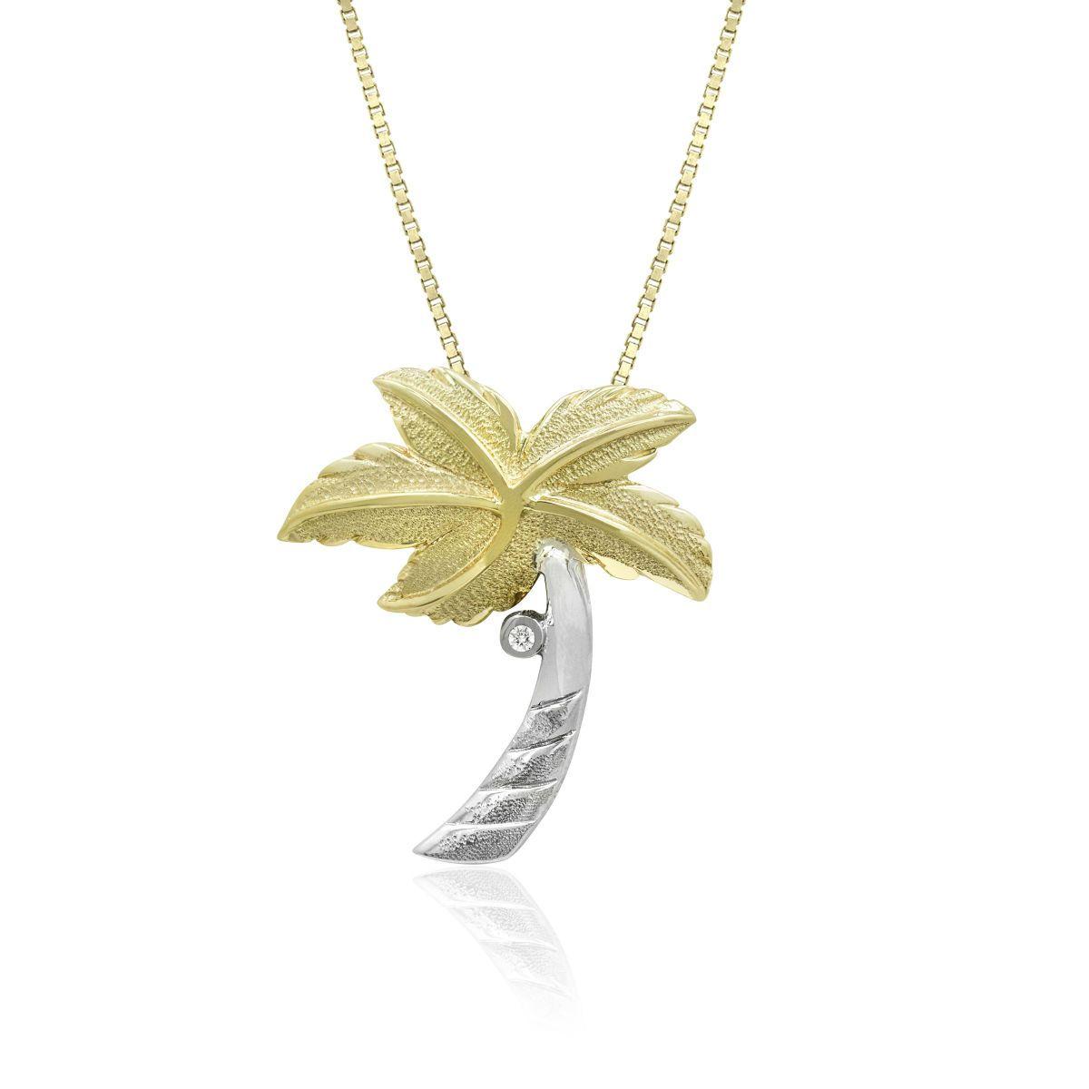 Two tone gold palm tree diamond pendant 30mm palm tree hawaiian two tone gold palm tree diamond pendant 30mm aloadofball Image collections