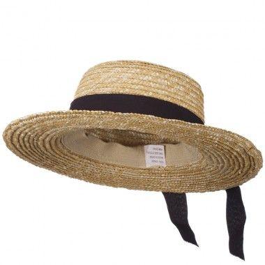 paper straw boater hat black 28 straw