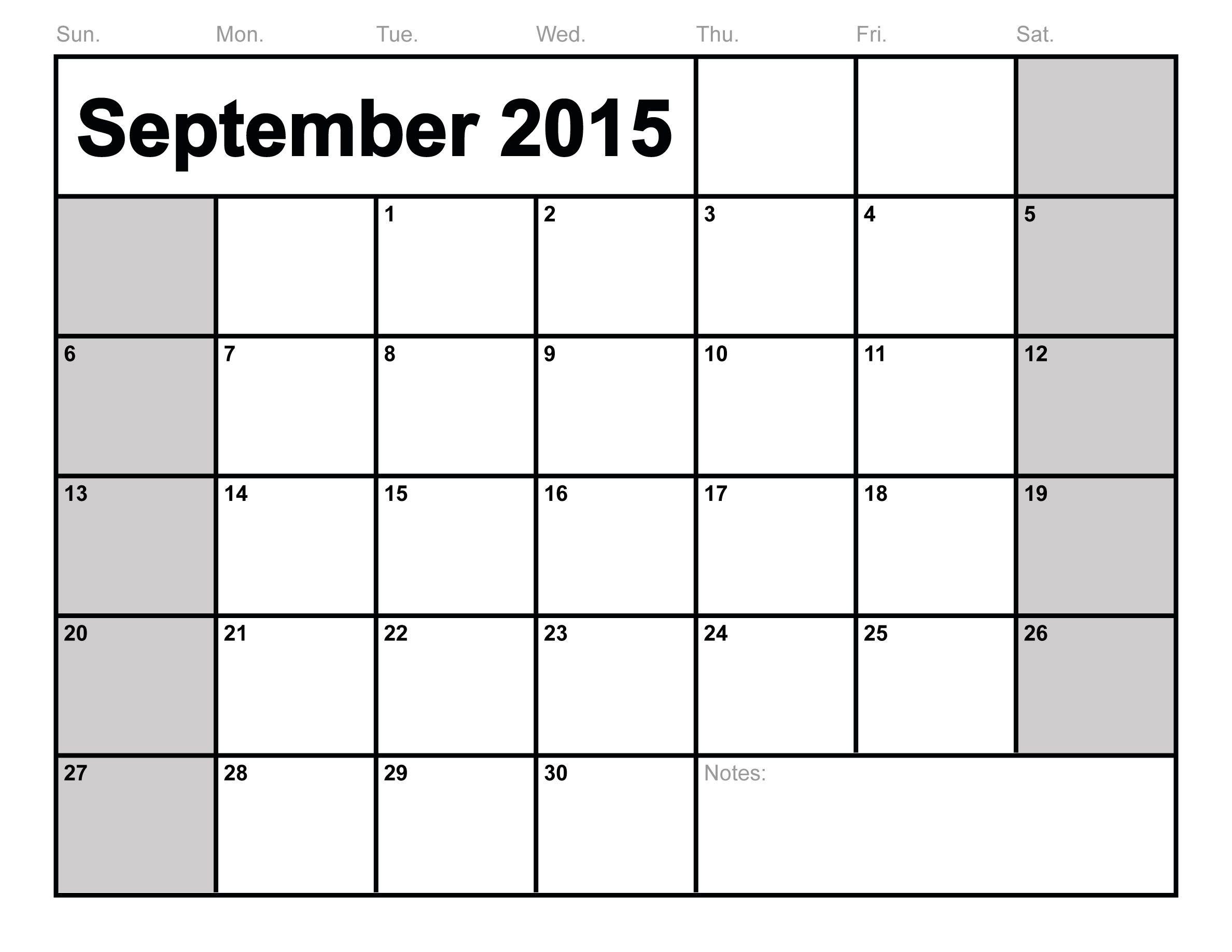 September 2015 Calendar Printable Free Blank Calendar 2015 3