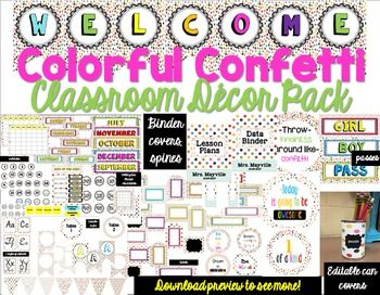 ac3e9e5592 Looking for a colorful theme for your classroom  This confetti decor bundle  has cheerful confetti