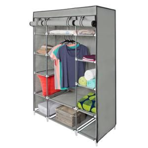 Best Choice Products Portable 13 Shelf Wardrobe Storage Closet Organizer W Cover And Hanging Rod Gray Walmart Com Portable Wardrobe Portable Closet Portable Furniture