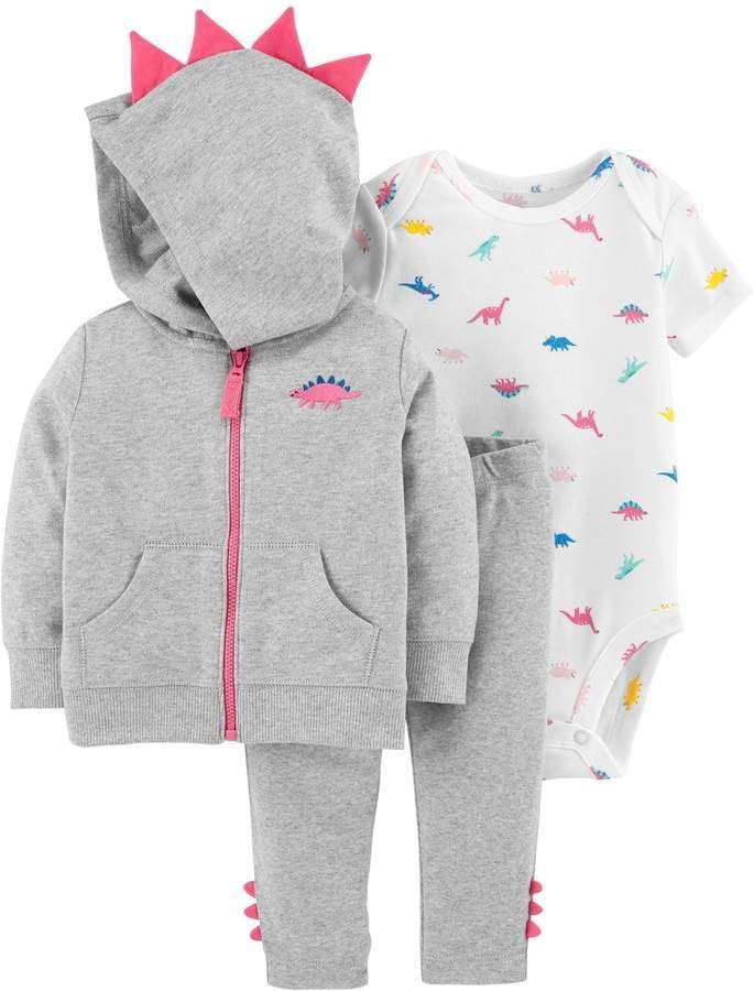 2f8cc482a Carter's Baby Girl 3-D Spikes Dinosaur Zip Hoodie, Bodysuit & Pants Set