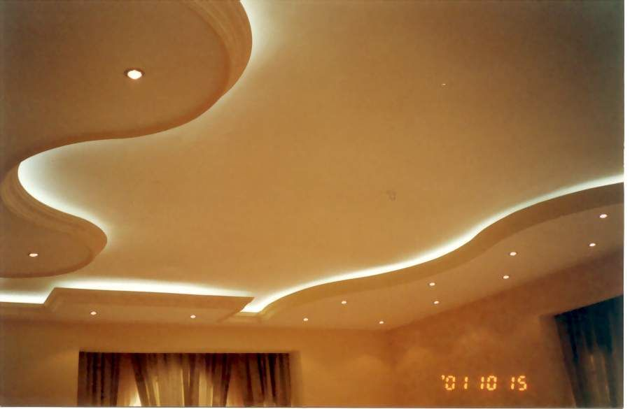 Modern Gypsum False Ceiling For Living Room With Hidden Lights