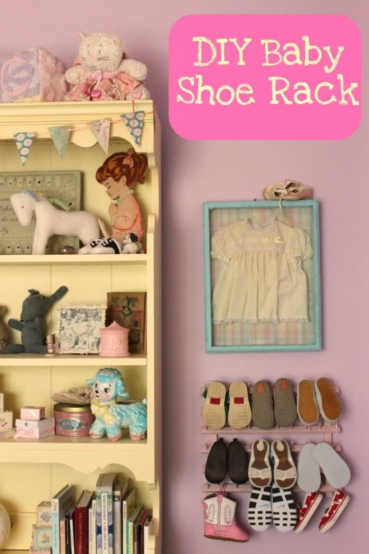 Use Hooks At Dollar Store Instead And Hang Each Pair And The Ones You Can T Hang Out A Shelf Above The Hooks Baby Shoes Diy Baby Shoe Storage Diy