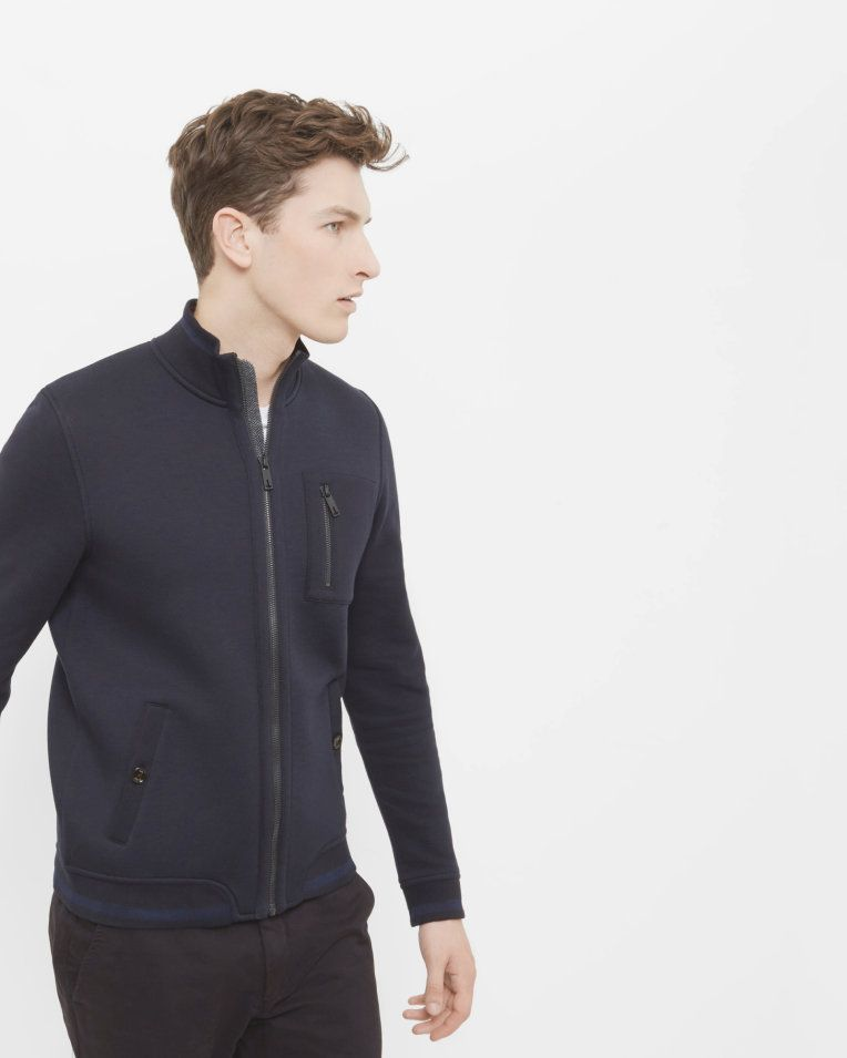 6838a6474be527 Funnel neck jacket - Navy