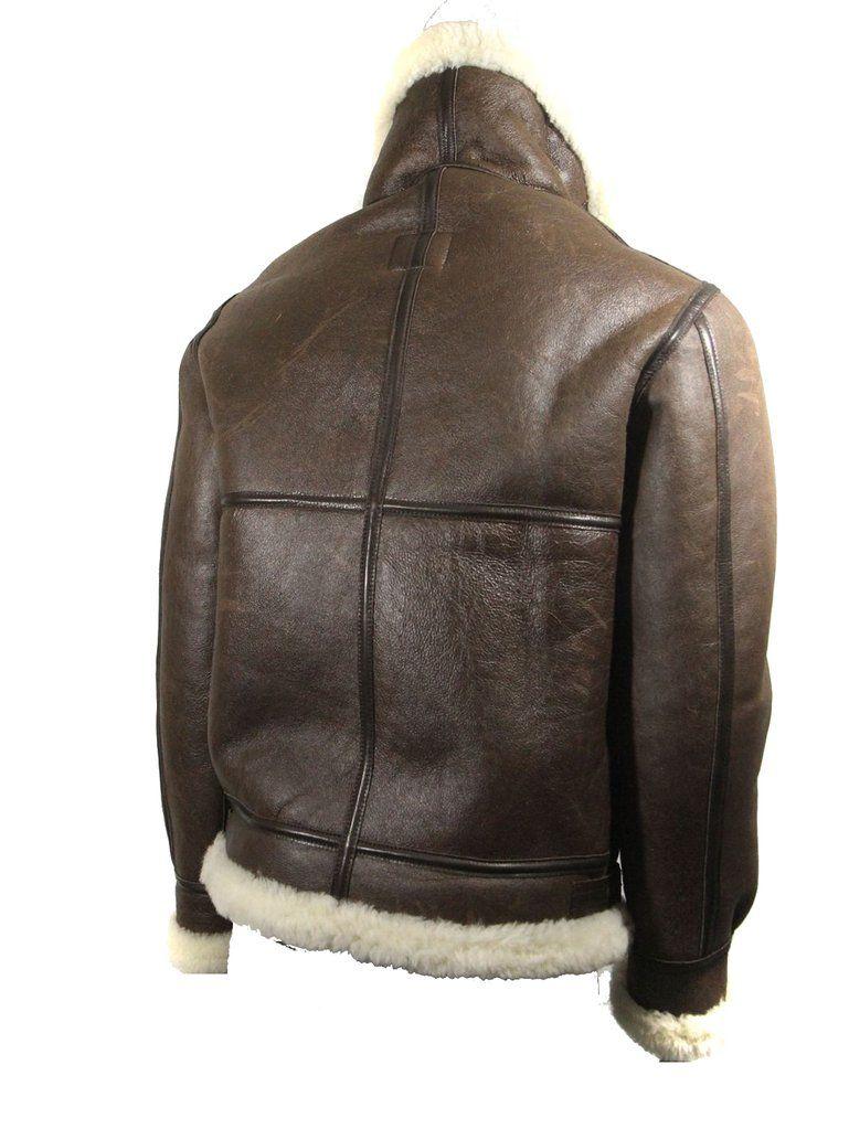 Men's avirex ldt b 3 brown leather sheep skin shearling