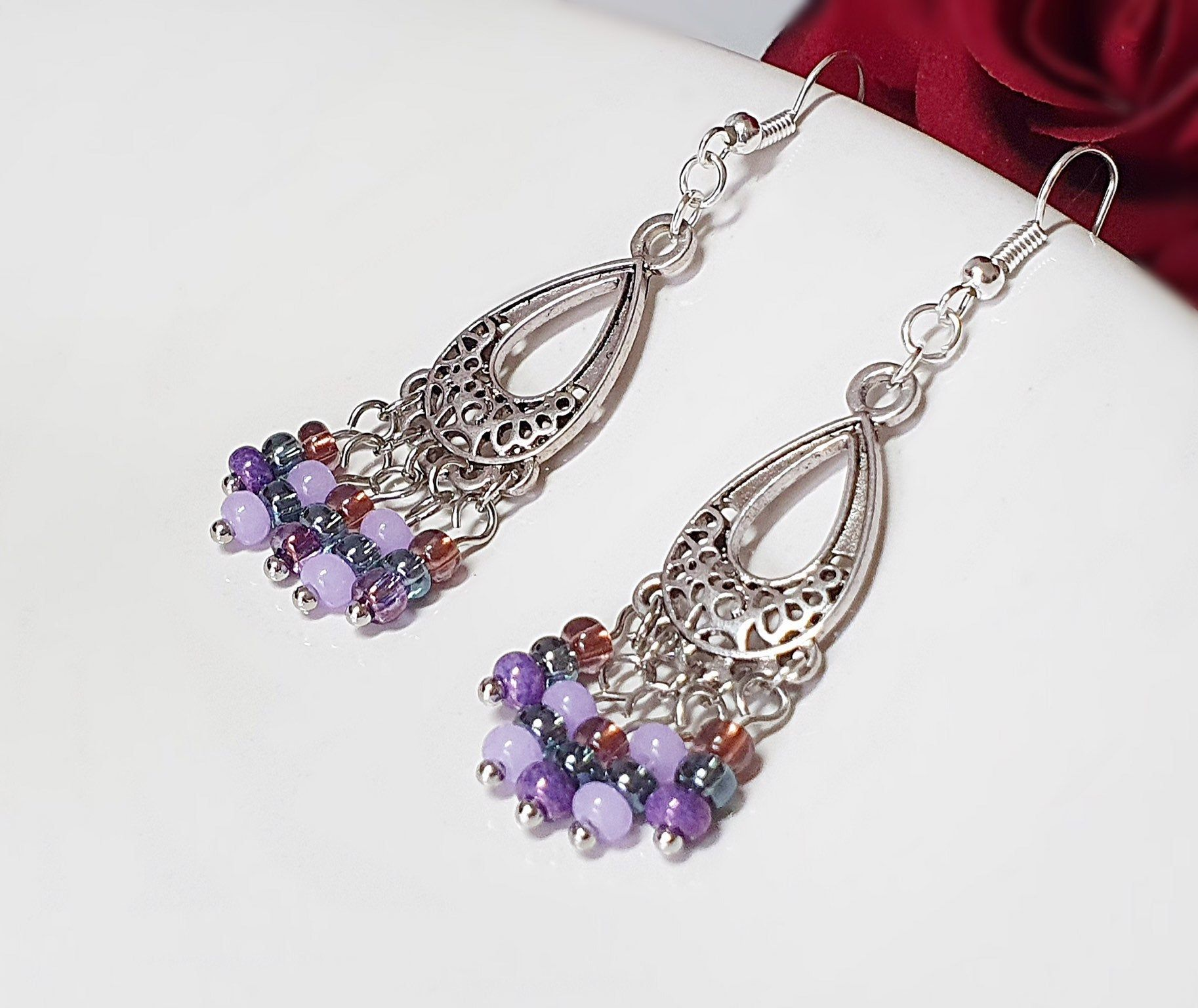 Shimmering Lilac /& Bronze Czech Glass Heart Bracelet Pale Purple Rustic Boho Bracelet