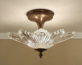 Vintage Sunburst Starburst Ceiling Light Antique 1930 S Ultra