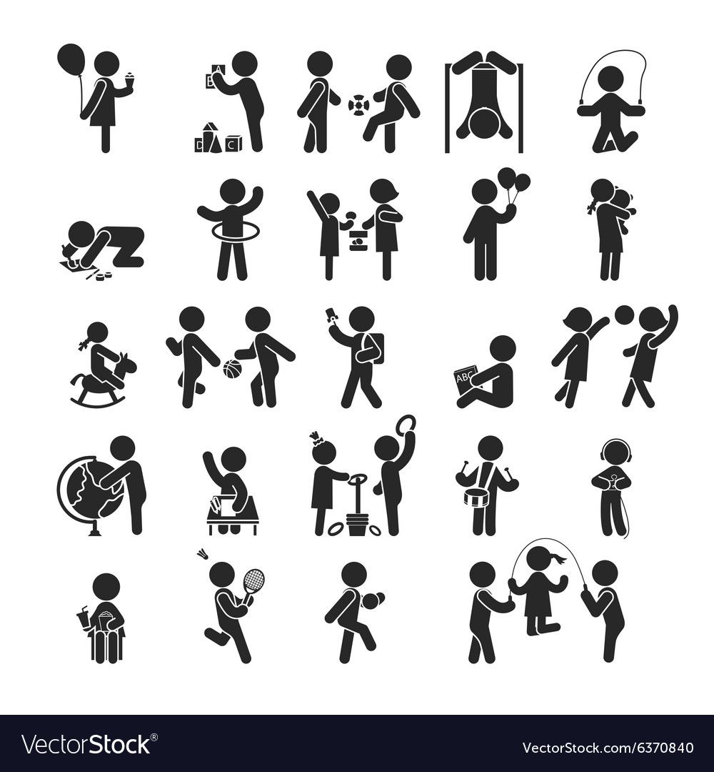 Set Of Children Activities Play And Learn Vector Image Affiliate Activities Children Set Play Ad Pictogram Pictogram Design Icon Illustration