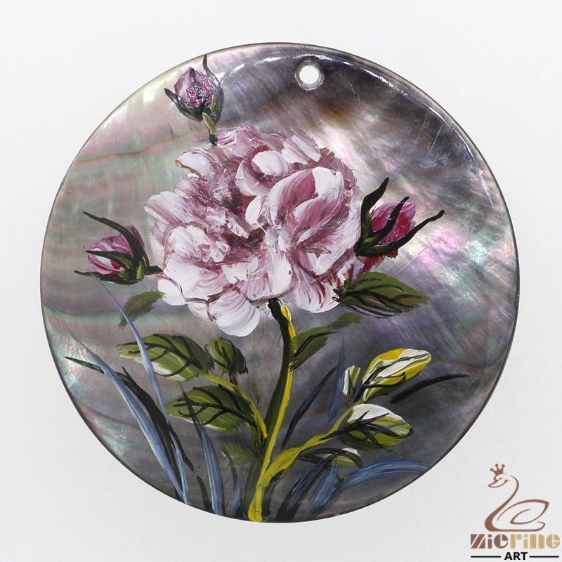 Cute Gift Hand Painted Flower Natural Black Lip Shell Pendant DIY #ZL #Pendant
