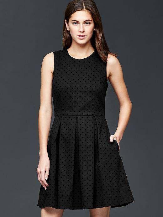 New Gap Black Polka Dot Fit Amp Flare Dress 8 Tall