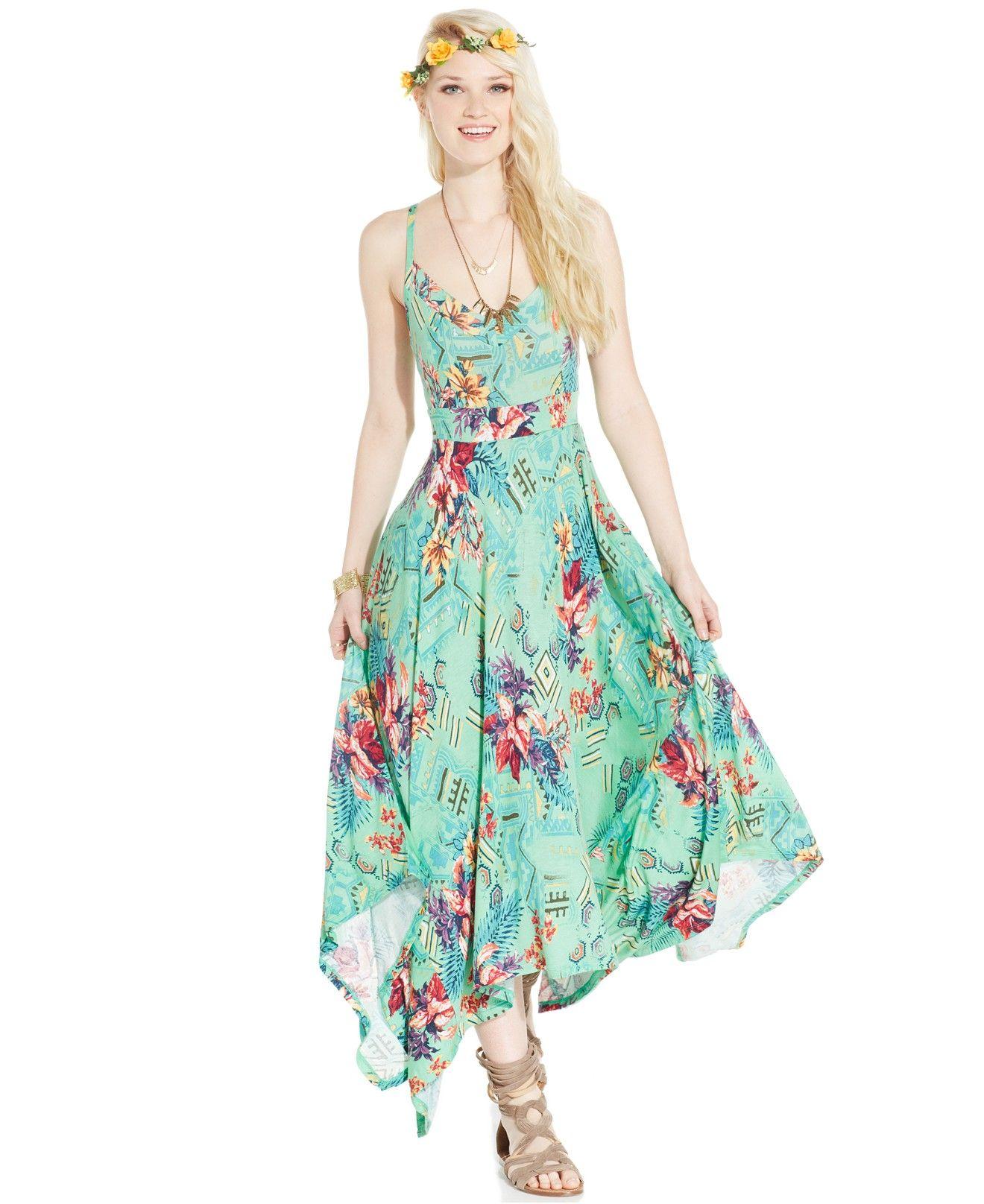 cd83231f0cc3 American Rag Printed Handkerchief-Hem Maxi Dress - Dresses - Women - Macy's  Color: Gilligan's Island