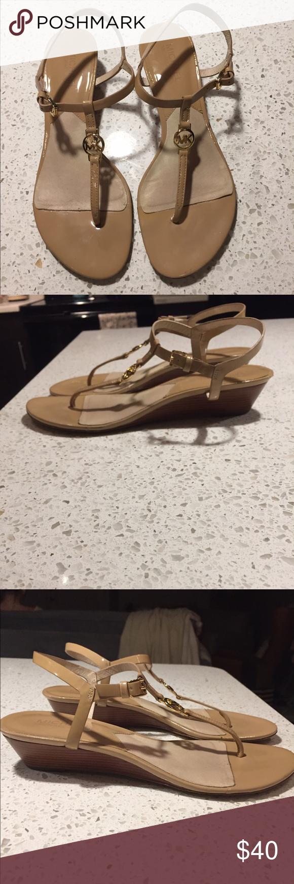 Michale Kors sandals Nude patent leather T-strap Michael Kors heeled Sandals Michael Kors Shoes Sandals