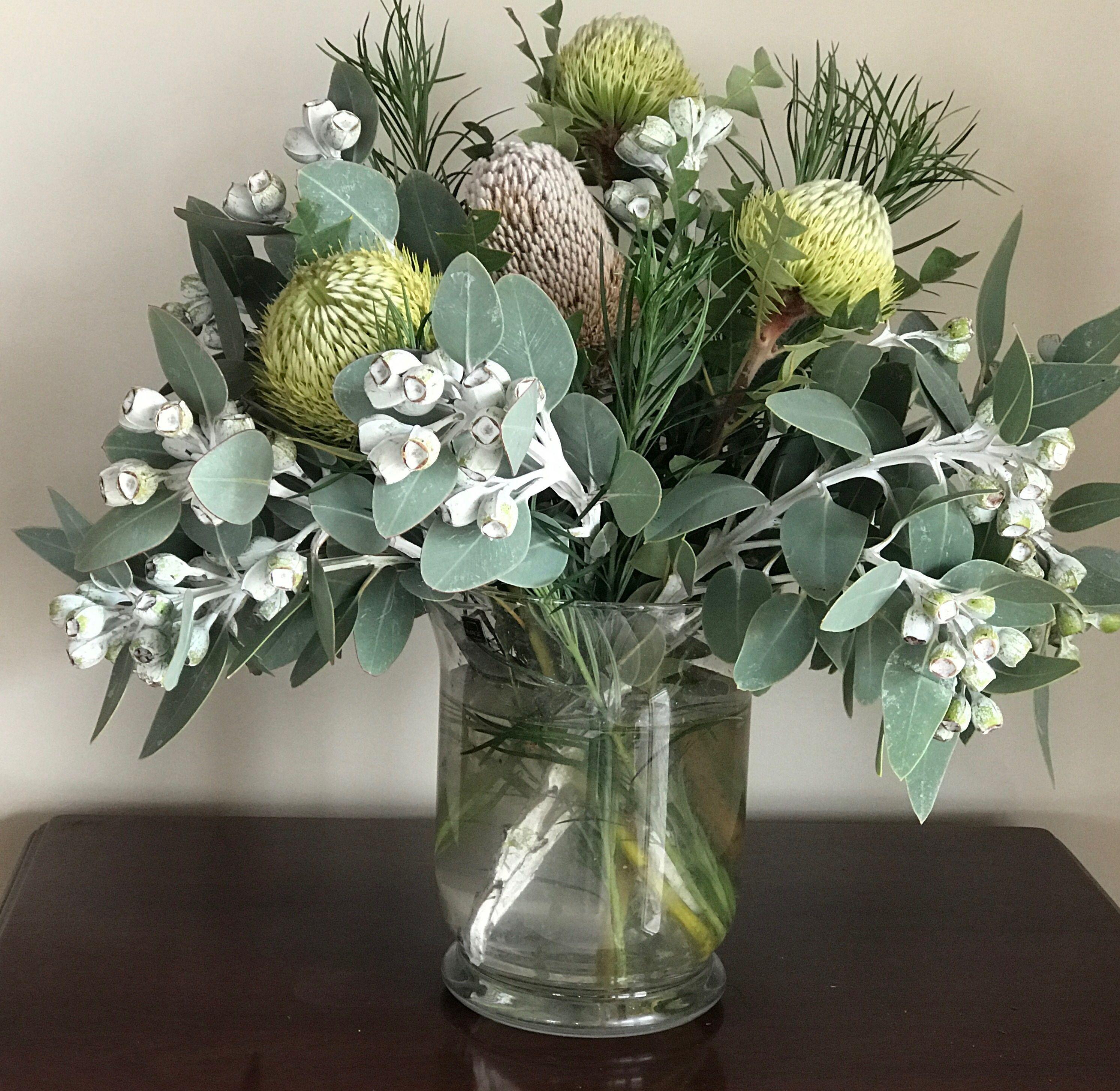 Eucalyptus Tetragona Gumnuts And Foliage With Banksia Baxteri Australian Native Flowers Australian Flowers Flower Arrangements