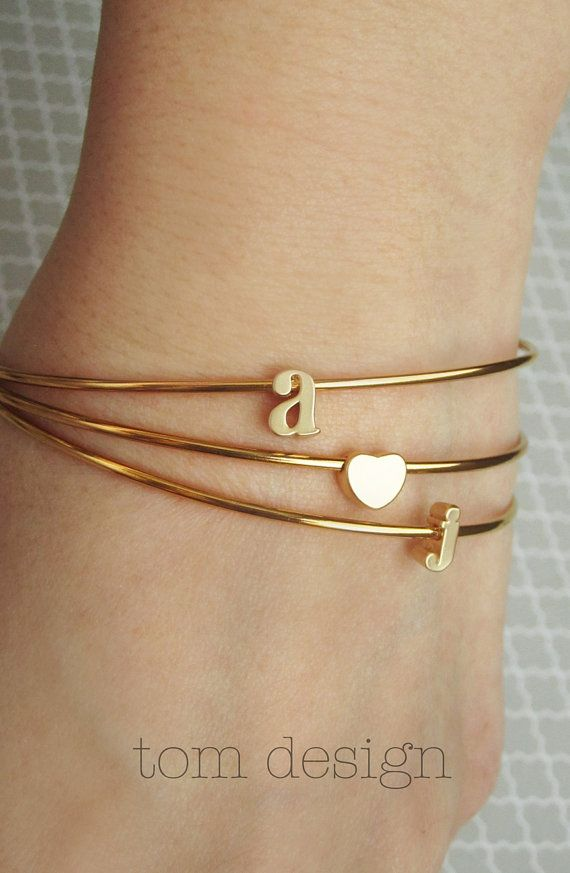 Birthstone initial bangles Personalized bangles initial charm personalized bridesmaid jewelry set of 2 gold hammered bracelet