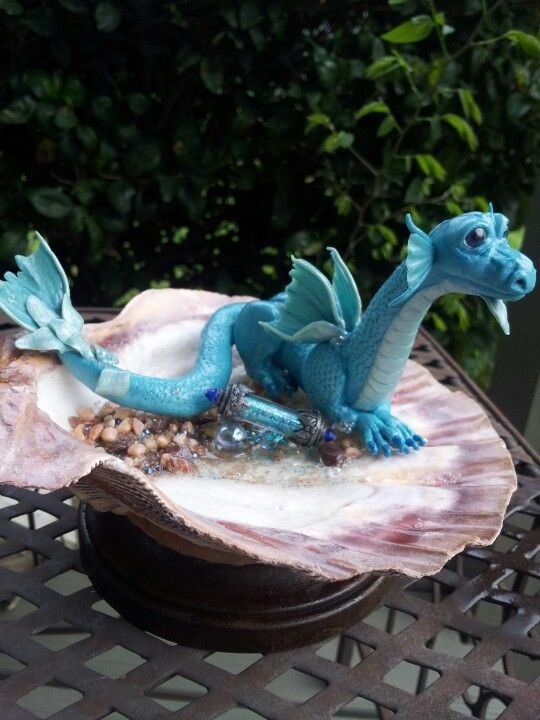 Miniature water dragon sculpture polymer clay