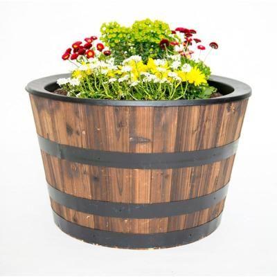 Real Wood 26 In Dia Cedar Half Whiskey Barrel Planter G3056 The