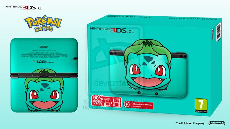 Nintendo 3DS XL Pokemon Series - Bulbasaur Edition by Paxxy.deviantart.com on @deviantART