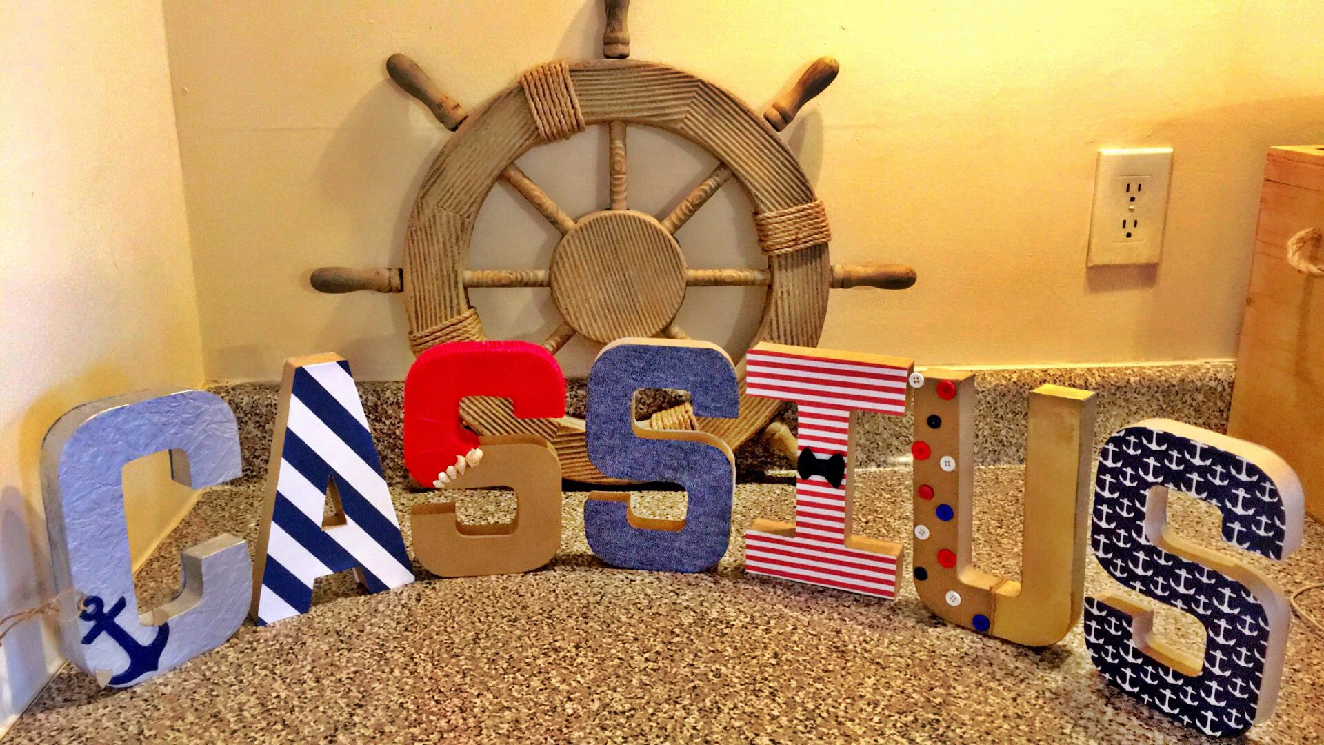 Letters done by Tierra for Nautical Themed baby shower