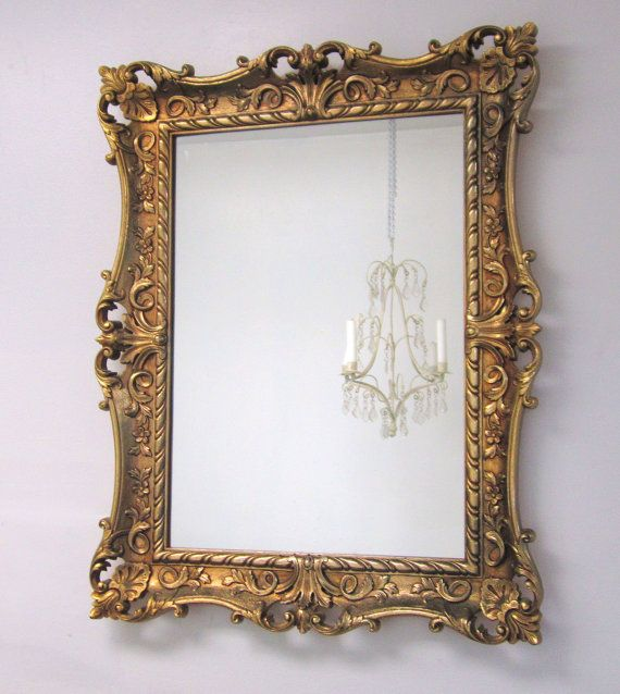DECORATIVE VINTAGE MIRRORS For Sale 28x22 Baroque Gold Mirror