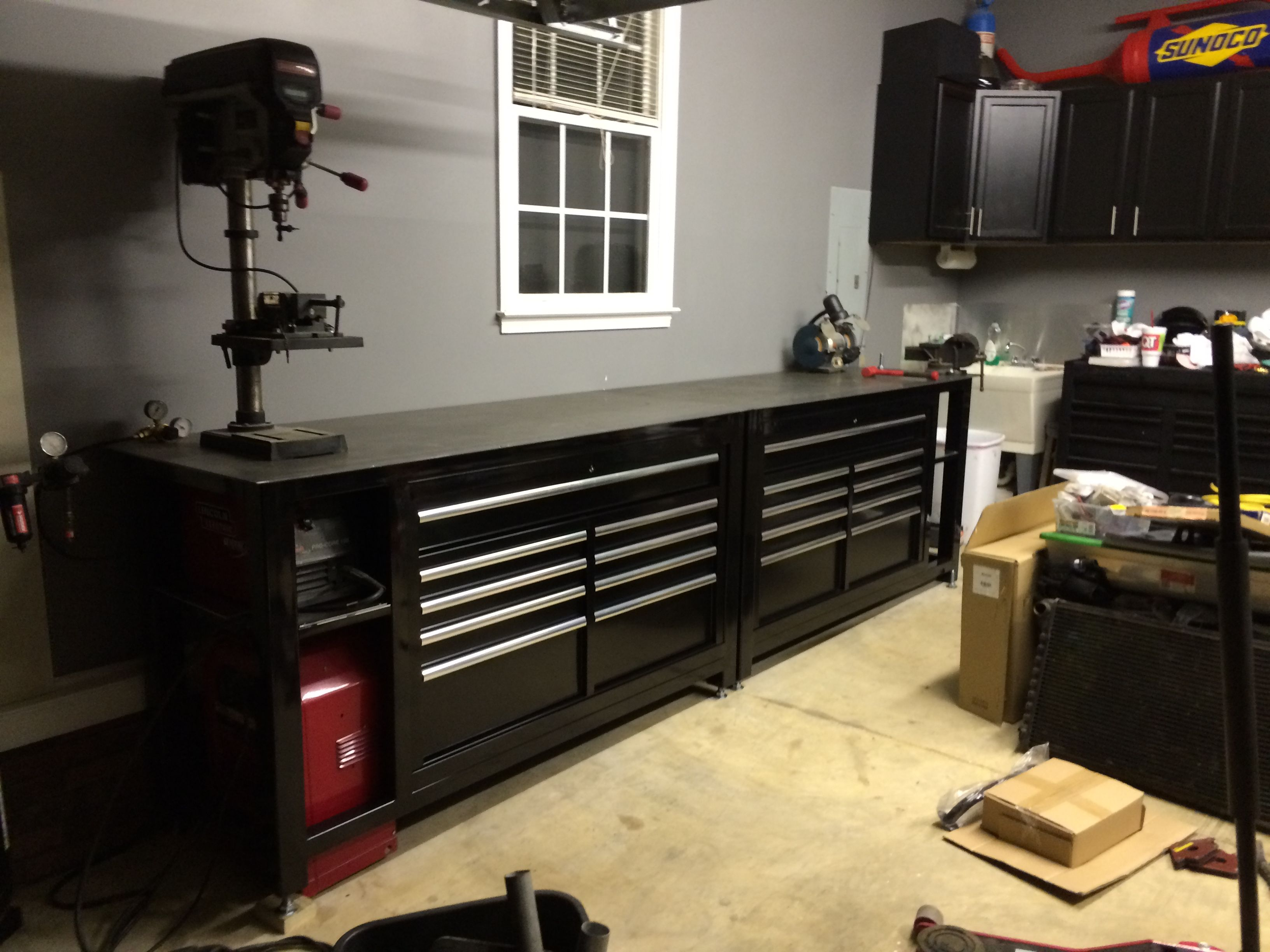 Tool box workbench with steel top homemade black shop for 4 box garage