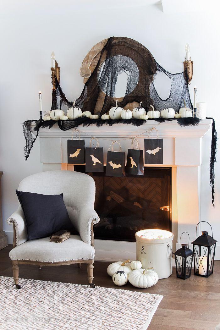 Classic Black Halloween Mantel Decor Halloween Pinterest