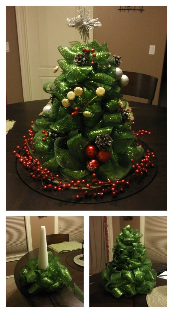 Diy Ribbon Christmas Tree Centerpiece Mesh Christmas Tree Diy Christmas Tree Christmas Diy